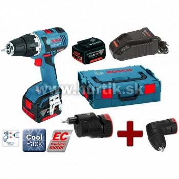 Aku skrutkovač  GSR 14,4 V-EC FC2FLEX - /2x4,0Ah, nabíjačka, kufor/ + nadstavec uhlové skľučovadlo a excentrický nadstavec