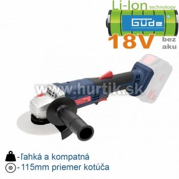 Aku brúska uhlová WS 18-0 (18V/ bez akumulátorov a nabíjačky, krabica)
